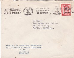 1968 COMMERCIAL COVER -INSTITUTO ENSEÑANZA PROFESIONAL INDUSTRIAS TEXTIL. CIRCULEE ARGENTINE. BANDELETA PARLANTE - BLEUP - Argentine