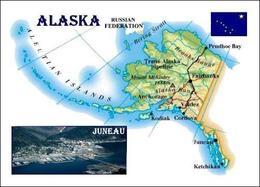 Alaska Map United States New Postcard Landkarte AK - Andere