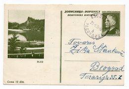 1955 YUGOSLAVIA, SLOVENIA, BLED, TITO, POSTAL STATIONERY, USED, RADOVLJICA TO BELGRADE, SERBIA - Postal Stationery