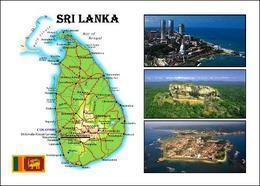 AK Sri Lanka Landkarte Country Map New Postcard - Sri Lanka (Ceilán)