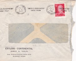1957 COMMERCIAL COVER - ESTUDIO CONTINENTAL. CIRCULEE ARGENTINE. BANDELETA PARLANTE - BLEUP - Argentine