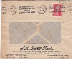 1953 COMMERCIAL COVER - PRONTO HNOS SA. CIRCULEE ARGENTINE. BANDELETA PARLANTE - BLEUP - Argentine