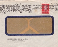 1957 COMMERCIAL COVER - JUAN NACHOD & CIA. CIRCULEE ARGENTINE. BANDELETA PARLANTE - BLEUP - Argentine
