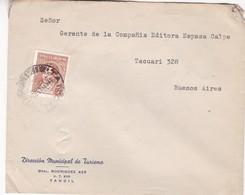1943 COMMERCIAL COVER - DIRECCION MUNICIPAL DE TURISMO. CIRCULEE TANDIL TO BUENOS AIRES - BLEUP - Argentine