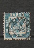 Timbre Baden Freimarke - 7 Kreuzer Bleu - Mi 25 Année 1868 - Bade