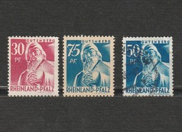 Lot 3 Timbres Rheinland-Pfalz - Rhénanie Palatinat - Gutenberg - 2 Neufs - Année 1947 Mi DE-FRP 13 Et Année 1948 9 Et 26 - Zone Française