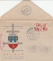 SAUMUR - OBLIT. ILLUST.  EXPO. 5.45 CROIX LORRAINE En CHAÎNE /LES CADETS 6.40/LIBER. 8.44 - CROIX VERTE/MONTREUIL BELLAY - Postmark Collection (Covers)