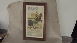 Superbe Affichette Ancienne Corrida De Toros, Bilbao En 1925, Encadrée Dos Lisible,illustrée Par Roberto Domingo - Publicité