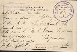Guerre 14 Armée D'Orient Hôpital Central Serbe Linéaire + Cachet Secteur Postal 510 Salonique Place Vodji Entrée Douane - 1. Weltkrieg 1914-1918