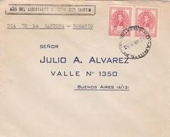 1952 COVER -  CIRCULEE ROSARIO TO BUENOS AIRES. DIA DE LA BANDERA. TIMBRE A PAIR - BLEUP - Argentine