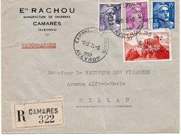 LSC Recommandé 1952 - Entête Ets RACHOU Manufacture De Draperies à CAMARES (Aveyron) - Cachet CAMARES Sur DOUDON - Marcophilie (Lettres)