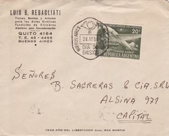 1951 COMMERCIAL COVER - FDC 1950 AÑO GRAL SAN MARTIN-  LUIS B REBAGLIA. CIRCULEE BUENOS AIRES - BLEUP - FDC