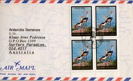 1984 , COREA DEL NORTE , SOBRE CON BL/4 Y MATASELLOS TEMÁTICO , AVES , GRULLAS , CROWNED CRANE - Grues Et Gruiformes