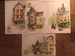 4 CPA, Le Vieux Paris,  Illustrateur Robida, Foire St Laurent, Place Du Pré Aux Clercs, Maison Natale De Molières ETC - Robida