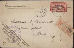 Guerre 14 YT 119 Merson 40c CAD Paris 44 R Grenelle 27 6 16 Recommandé Achet Aigle Attaché Militaire De Russie En France - Marcophilie (Lettres)