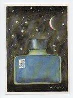 Desclozeaux: Nuit D'Encre, Bouteille D'Encre, Lune Et Etoiles (19-1103) - Paintings
