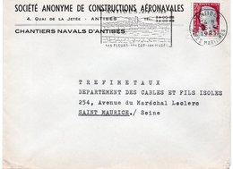 LSC - Entête S.A. De CONSTRUCTIONS AERONAVALES - Chantiers Navals D'ANTIBES - Cachet Et Flamme ANTIBES - Marcophilie (Lettres)
