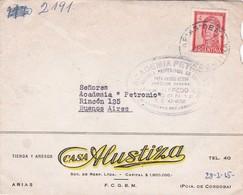 1952 COMMERCIAL COVER - CASA ALUSTIZA. CIRCULEE ARIAS TO BUENOS AIRES, AUTRE MARQUE - BLEUP - Argentine