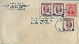 1955 , FILIPINAS , SOBRE CIRCULADO , MANILA - DALLAS , MANUEL L. QUEZÓN , MARCELO H. DEL PILAR - Filipinas