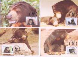 WWF - LAOS - 1994- WWF -  SUN BEAR   SET  OF 4 MAXI CARDS, - Maximum Cards