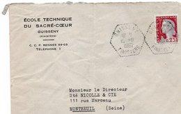 LSC 1962 - Cachet Hexagonal Perlé GUISSENY (Finistère) Sur Enveloppe Ecole Technique Su Sacré Coeur - Storia Postale