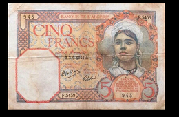 # # # Banknote Algerien (Algeria) 5 Francs 1941 # # # - Algerien