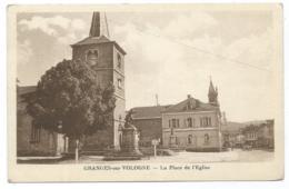 CPSM GRANGES SUR VOLOGNE, LA PLACE DE L'EGLISE, VOSGES 88 - Granges Sur Vologne