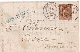 1889 - Cachet BAR LE DUC (Meuse) Sur Type Sage 30c - YT 80 Et Timbre Fiscal à L'intérieur - Marcophilie (Lettres)