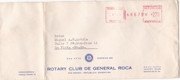1975 COMMERCIAL COVER - ROTARY CLUB DE GENERAL ROCA. CIRCULEE RIO NEGRO TO LA PLATA. FRANKING MECHANIC - BLEUP - Argentinië