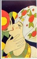 L.scattina Sa Un Serie Art Deco Sul Bacio - Italia 1925 - Riproduzione Da Originale - Cartoline