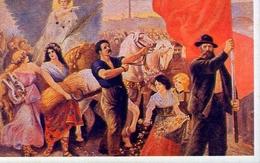 La Pace Guida I Lavoratori Dei Più Svariati Settori - Tutti Uniti Dietro La Bandiera Rossa Del Partito Socialista - Ital - Cartoline