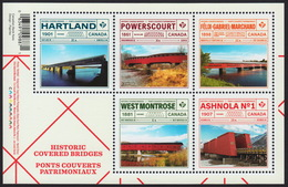 Covered BRIDGES = Souvenir Sheet Of 5 Stamps Canada 2019 MNH VF - Bridges