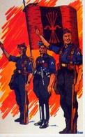Un Gruppo Di Falangisti Durante La Guerra Di Spagna - Spagna 1938 - Riproduzione Da Originale - Cartoline