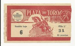 Ticket - Plaza De Toros - Madrid - 1956 - Tickets D'entrée