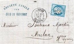 1872 - Entête Société Civile Des SELS DE BAYONNE - Cachet BAYONNE  ST ESPRIT & Losange GC 359 Sur CERES 25c N 60 - 1849-1876: Classic Period