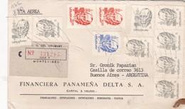 1982 COMMERCIAL COVER: FINANCIERA PANAMEÑA DELTA SA. CIRCULEE URUGUAY TO ARGENTINE. RECOMMANDE. MIXED STAMPS  - BLEUP - Uruguay
