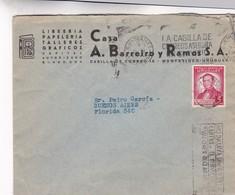 1940'S COMMERCIAL COVER: LIBRERIA CASA A BARREIRO Y RAMOS SA. CIRCULEE URUGUAY TO ARGENTINE, BANDELETA PARLANTE  - BLEUP - Uruguay
