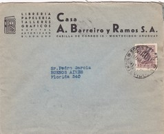 1940'S COMMERCIAL COVER: LIBRERIA CASA A BARREIRO Y RAMOS SA. CIRCULEE URUGUAY TO ARGENTINE - BLEUP - Uruguay