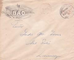 1952 COMMERCIAL COVER: COMPAÑIA BAO SA. CIRCULEE MONTEVIDEO TO LAVALLEJA, URUGUAY. FRANKING MACHINE ATM - BLEUP - Uruguay