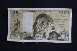 56 /  France, 500 Francs, 500 F  -  P.3-1-1991.P.   ''Pascal''  /  N° W.343 - 1962-1997 ''Francs''