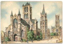 Gent - Zicht Van De Drie Torens St-Nikolaaskerk Belfort St-Baafskerk - Gent