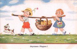 Joyeuses Pâques, Enfants, Chien Et Famille De Poussins (26337) - Ostern