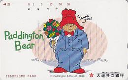 Télécarte Japon / 110-011 - Comics - OURS PADDINGTON & Bouquet De Fleurs - TEDDY BEAR Japan Phonecard - BÄR - 764 - BD