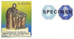 GREAT BRITAIN 1974 Monument EUROPA Churchill Machines ½p+3p SPECIMEN IMPERF:sheetlet - Grossbritannien