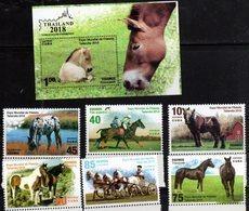 FAUNA, 2018, MNH, HORSES, THAILAND EXHIBITION, 6v+S/SHEET - Horses