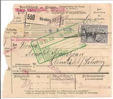 Infla. Paketkarte Nürnberg>Schweiz 1922 MeF 6x Mi176 - Germany