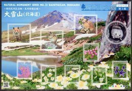 JAPAN, 2018, MNH,NATURAL MONUMENTS, PART III, RODENTS, FLOWERS, MOUNTAINS,  SHEETLET - Rodents