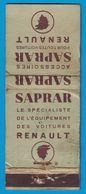 POCHETTE SANS ALLUMETTES CREATION LASTAR SAPRAR LE SPECIALISTE D L'EQUIPEMENT DES VOITURES RENAULT PARIS - Matchboxes