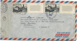 ARBOIS 30FRX2 LETTRE AVION PARIS 1953 POUR CHISTOBAL PANAMA - Marcophilie (Lettres)