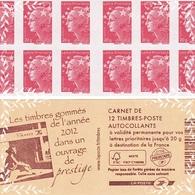 Carnet FRANCE - 2012 - Marianne De BEAUJARD - FRANCE - Les Timbres Gommées De L'année 2012 - Markenheftchen